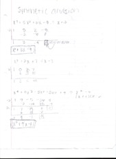 Synthetic Division and 2.3 Remainder Theorem Notes