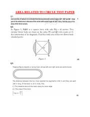 AREA RELATED TO CIRCLE TEST PAPER