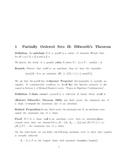 Partially Ordered Sets II Dilworth's Theorem