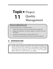16150728Topic11ProjectQualityManagement