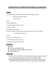 CONSERVATION OF MOMENTUM AND ENERGY LAB ASSINGMENT.docx