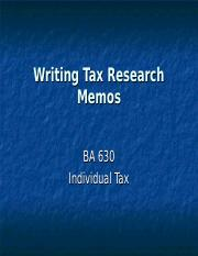 Writing Tax Research Memos.ppt