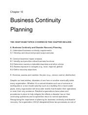 Chapter 15 Business Continuity Pannnig