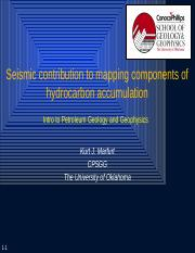 1. Seismic contribution to components of hydrocarbon accumulation