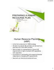 TOPIC 7-PREPARING A HUMAN RECOURSE PLAN