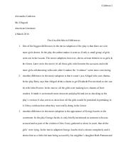 the story of an hour questions and essays calderon alexandra 2 pages the crucible movie differences