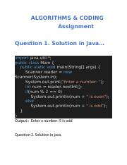ALGORITHMS and Coding Assignment in java.docx