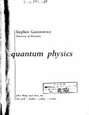 Stephen Gasiorowicz Quantum Physics, Third Edition  2003