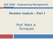 CEE 5930 Decision Analysis Part 1 -- Fall 2014