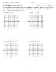 End Behavior Worksheet Id 1 Algebra 2 Name Polynomials End