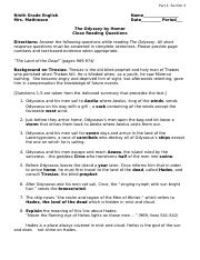 The Odyssey Part I Close Reading Questions - The Land of the Dead - Key.doc