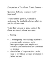 Acturarial Science 1021 Comparison Private versus Social Insurance