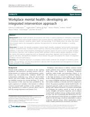 Workplace mental health- developing an integrated intervention approach