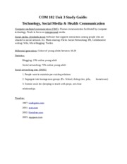COM 102 Unit 3 Study Guide-  Technology, Social Media & Health Communication