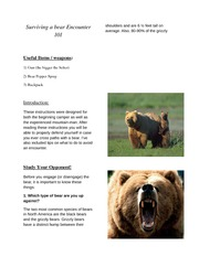 Instructions - Surviving a Bear Encounter