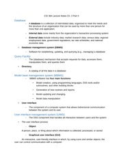 cis database notes Class notes for baruch college cis 9340 - database management systems.