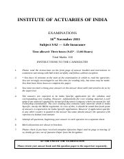 (www.entrance-exam.net)-Institute of Actuaries of India-Subject SA2- Life Insurance Sample Paper 7.p