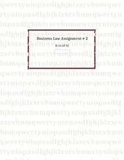 Assignment 2 business law