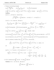 Test 4 Review Solution Summer 2014 on Calculus 1 for Engineers