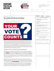 Justin Curtis - Recrafting the Electoral College - Harvard Political Review