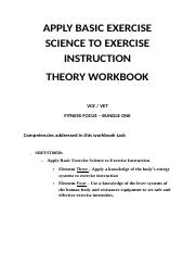 Elements Three, Four APPLY BASIC EXERCISE SCIENCE TO EXERCISE INSTRUCTION