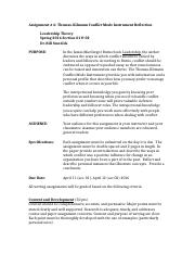 Leadership Theory Thomas Kilmann Assignment