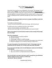 How to Read Shakespeare - Paraphrasing Activity.doc
