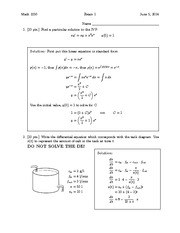 Exam 1 Solution on Differential Equations and Linear Algebra