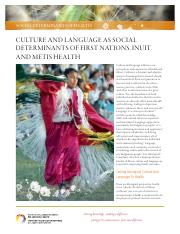 Culture and Language as Social Determinants of FN Health
