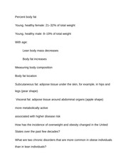 Notes on Percent body fat