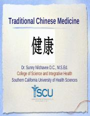Lecture TCM - Traditional Chinese Medicine