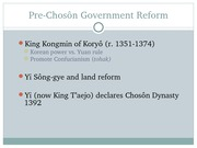 Chapter 18 Choson Korea Lecture Slide