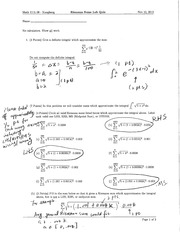Riemann Sums Quiz Solution