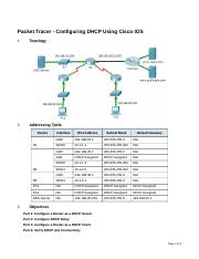 8 1 3 3 Packet Tracer Configuring Dhcpv4 Using Cisco Ios