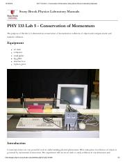 PHY 133 Lab 5 - Conservation of Momentum [Stony Brook Physics Laboratory Manuals].pdf