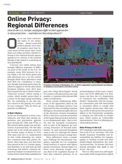 Online Privacy-Regional Differences CACM, v.58, no.2, 2015