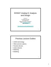 EE5507 Analog IC Analysis and Design Lecture 2