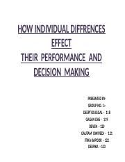 HOW INDIVIDUAL DIFFRENCES EFFECT