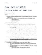 Bio Lecture #10 - Integrated Metabolism.docx