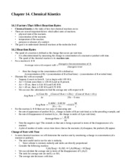 CHM 116 CHEMICAL KINETICS NOTES