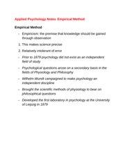 Applied Psychology Notes Empirical Method