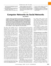 WELLMAN science - Computer netwks as social netwks