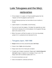 4.Late Tokugawa and the Meiji restoration Notes