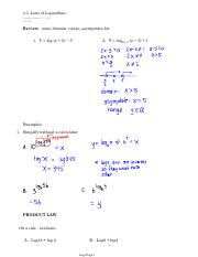 4.3  Laws of Logarithms (I)