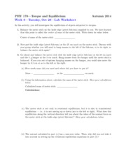 Worksheet on Torque and Equillibrium