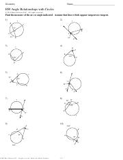 Geometry - HW Angle Relationships with Circleskey ...