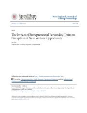 The Impact of Entrepreneurial Personality Traits
