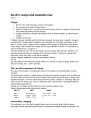 PY106 Chapter 1: Electric charge and Coulomb's law