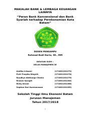 Makalah Bank Konvensional Dan Bank Syariah Docx Makalah Bank Lembaga Keuangan Lainnya U201cperan Bank Konvensional Dan Bank Syariah Terhadap Course Hero