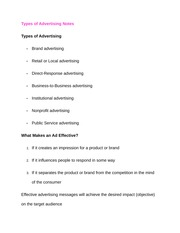 Types of Advertising Notes